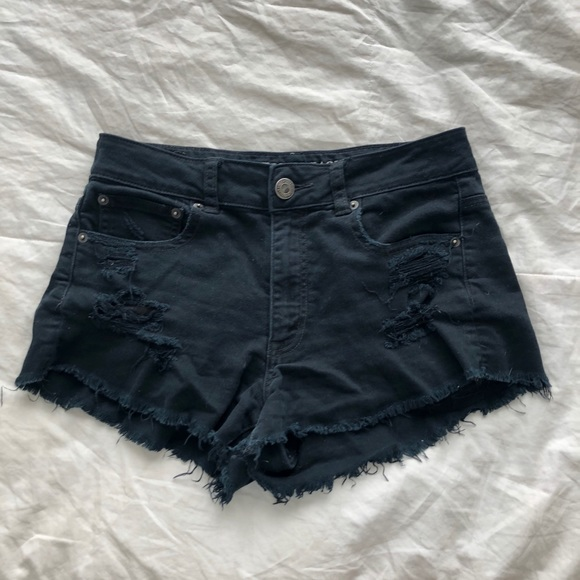 American Eagle black stretchy jean shorts